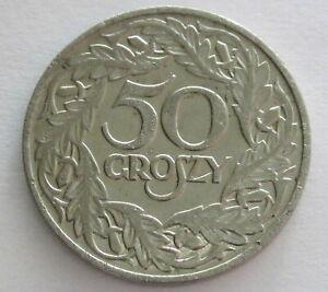 Poland Nickel 50 Groszy 1923, Y13, Circulated