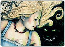 ACEO LE PRINTS Art Alice In Wonderland Cheshire Cat Watch Fairy Tale Blonde