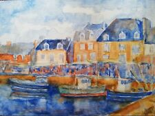 Aquarelle Marché sur un port Breton de Christian Coleau 2018 18X24 cm