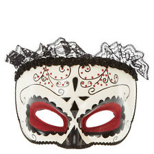 Claire's Womens Halloween Red and Black Day Of The Dead Masquerade Mask