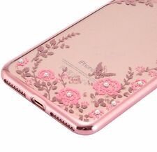 For iPhone 7+ Plus - Hard Rubber Gummy Diamond Bling Case Rose Gold Pink Flowers