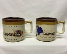 1986 Vintage Grandma Grandpa Coffee Cup Mug Set Of 2 Tea Cups Brown