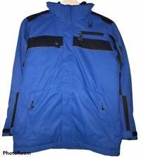 Spyder Kids Sz US 14 Blue Winter Zip Ski Polyester Hooded Jacket Embroidered euc