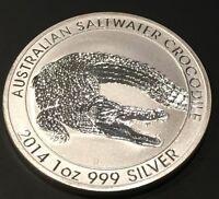 2014 Australian Salt Water Crocodile Perth Mint 1 Troy Oz .999 Fine Silver Coin