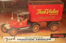 Ertl Ford 1918 Tractor Trailer True Value Hardware Bank Diecast Metal NOS