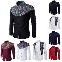Men Casual T Shirts Printed Long Sleeve Slim Fit Cotton Dress Shirt Tops L