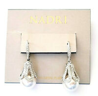 Nadri Nacre Pearl & Pave Cubic Zirconia Drop Earrings Rhodium Plated NEW
