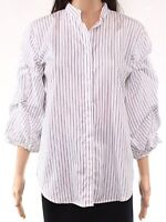 Lauren by Ralph Lauren Womens Top White Size Large L Button Down Striped $99 005
