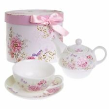 Tea for One Teapot Cup Suacer Set Shaby Chic Flora Bird Rose Butterfly Porcelain