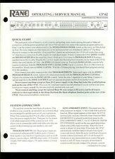 Original Factory Rane CP 62 Commercial Processor Owner's/Service Manual