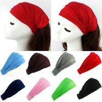 Women Sports Soft Solid Head Wrap Cotton Wide Hair Band Headband Elastic Turban