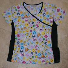 Emoji Emojis Scrub Uniform Top with Black Stretch Sides Ladies Xs Extra Small