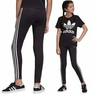 Adidas Girls Originals 3-STRIPES LEGGINGS Black 5/6 7/8 9/10 11/12 13/14 14/15