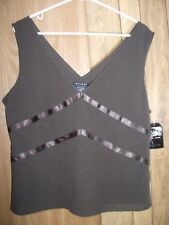 AXCESS Women 16 Sleeveless Dark Brown Shell V Neck Tank RETAIL $36 NWT free ship