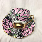 ROSINA QUEENS ENGLAND PINK ORIENTAL LILIES 4852 CUP & SAUCER 8 OZ BLACK LEAVES