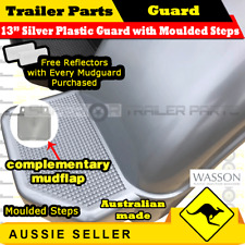 "Silver plastic trailer mudguard with mudflap suits 13""inch wheel Australian Made"