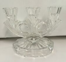 Heavy Lead Crystal Candle Holder 3 Taper Candelabra Centerpiece Clear