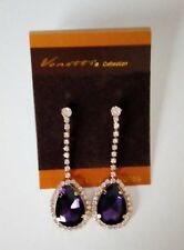 Purple Jewelled and Crystal Clip on Earrings Dangly