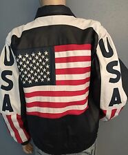 Vilanto USA American Flag Men's Leather Bomber Jacket Red White Blue Size XL