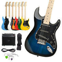 8 Colors ST Burning Fire Practice Beginner Electric Guitar Set w/ Bag AMP
