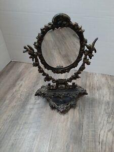 Victorian Ornate metal Vanity Table Mirror Swivel