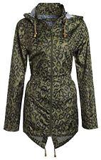 New Womens Leopard Print Zip Mac Raincoat Polyester Parka Hooded Jacket 8-24