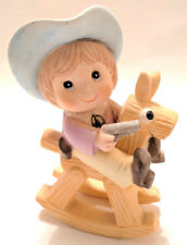 Vintage Porcelain Cowboy on Rocking Horse Figurine with hat pistol and boots