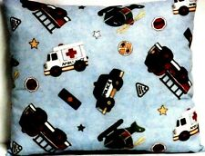 Toddler Pillow for Rescue Vehicles on Blue 100%Cotton Fm18 New Handmade