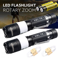 2 Sets 12000Lumens XML T6 LED USB Rechargeable 18650 Flashlight +Battery+Charger