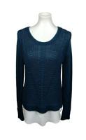Calvin Klein Women's Size M Cable Knit Sweater Chiffon Hem Blue Scoop Neck