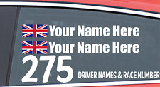 Race Car Drivers Personalized Name & Race Number Sticker Rally Car Racing Car