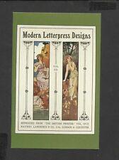 Nostalgia Postcard Graphic Design Printers Panels in Art Nouveau Style