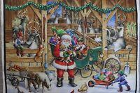 Christmas Reindeer Barn digitally printed 100% cotton fabric panel 35 x 43 Santa