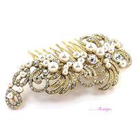 Bridal Wedding Vintage Antique Style Crystal & Pearl Gold Hair Comb Slide HC02