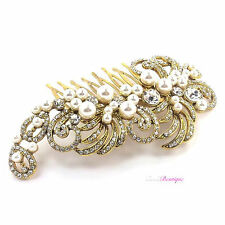 Bridal Wedding Vintage Antique Style Crystal & Pearl Gold Hair Comb Slide HC02