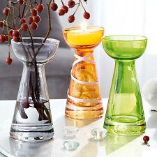 Neu+Glas+Vasen+3tlg.+bunt+Vase+Blumenvase+Grau+Orange+Grün+Set+shabby chic+trend