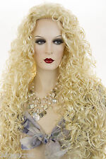 Dramatic 28 in Long Blonde Grey Brunette Red Curly 3/4 Cap Wig Held With Combs
