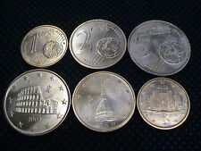 ITALIA 2002 MONETE EURO : 1 + 2 + 5 CENT 3 COINS UNC UNCIRCULATED by MINT ROLL