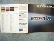 1981 PLYMOUTH RELIANT K FRONT WHEEL DRIVE BROCHURE