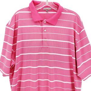 Peter Millar Summer Comfort Polo Shirt Pink White Striped XL