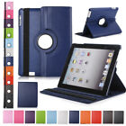 For Apple iPad 2 3 4 5 6 Mini On/Off 360° Rotating Stand Case Cover PU Leather