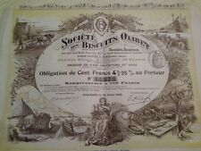 France French Suresnes 1906 Biscuits Olibet 100 Francs UNC Bond Share Obligation