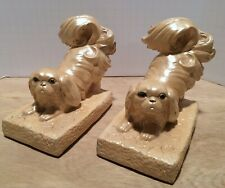 Vintage Shabby Chic Pekingese Japanese Chin Dog Pearlized Paint Plaster Bookends