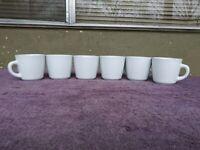 "Williams Sonoma Everyday Dinnerware White Cups Mugs 3"" 6 oz Set of 6"