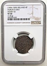 1496-1505 IRELAND HENRY VII SILVER 4P GROAT - NGC VF30 - RARE! - FREE SHIPPING