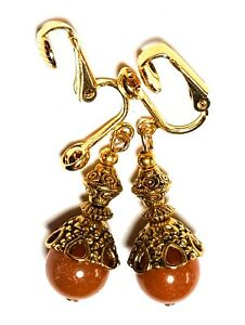 GOLD ORANGE AGATE CLIP-ON EARRINGS chic unique vintage gypsy retro boho style