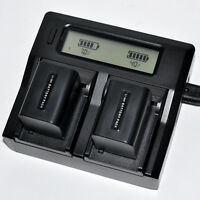 Quick LCD Charger +2x 3000mAh Battery for Sony NP-FV70 NP-FH70 DCR-HC Camcorder