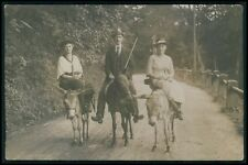 man and 2 Ladies sidesaddle Donkey original old c1920s photo postcard