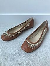 Christian Louboutin Tan Brown Leather Twisted Cut Out Ballet Gold Flats Size 39