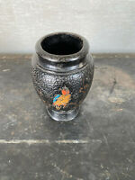 Vintage Japanese Vase With Bird and Flower Design 7 Inches Tall